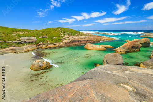 Staande foto Oceanië Australian travel summer destination. Aerial view of Elephant Cove Beach in William Bay National Park, Denmark, Western Australia. Summer season. Great Southern Ocean coastline. Sunny day, blue sky.