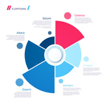 Pie Chart Concept With 6 Parts. Vector Template For Web, Present