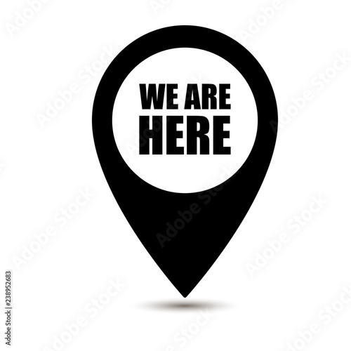 Fotografía  We are here map pointer icon isolated on white background