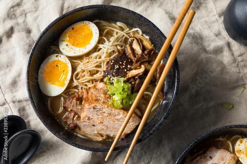 Homemade Japanese Pork Tonkotsu Ramen - Buy this stock photo