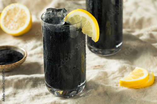 Canvas Print Refreshing Black Activated Charcoal Lemonade Detox