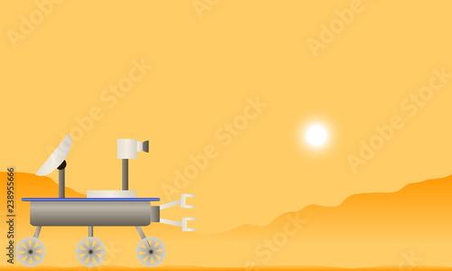 Fototapeta Martian landscape with space rover. obraz na płótnie