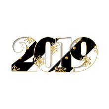 Happy New Year Card. Black Striped Number 2019, Gold Snowflake Texture, Isolated White Background. Bright Graphic Design Holiday Celebration, Greeting, Christmas Banner Decoration. Vector Illustration