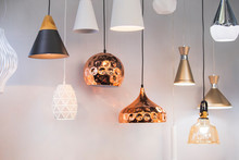 Different Modern Streamlined Mirror Copper Chandeliers. Bubble Metal Copper Shade Pendant