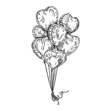 Bunch Of Heart Shaped Balloons. Sketch. Engraving Style. Vector Illustration.