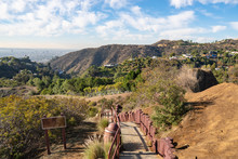 Stairs On Observation Deck On Hollywood Hills. Warm Sunny Day. Beautiful Clouds In Blue Sky.