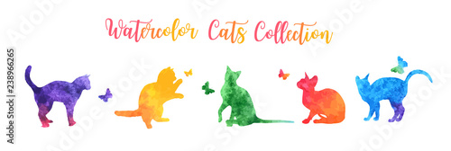 Cute colorful watercolor cat silhouettes playing with butterflies. vector illustration.