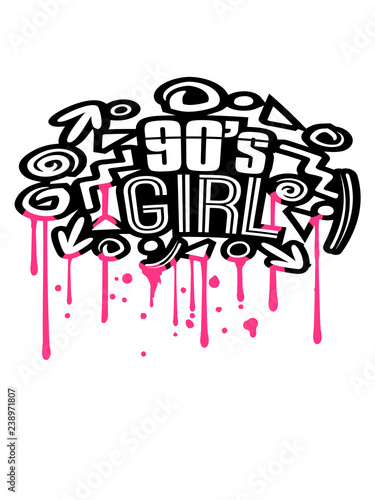 Valokuva  nass tropfen graffiti stempel spray retro bunt 90s girl neunziger jahre mädchen