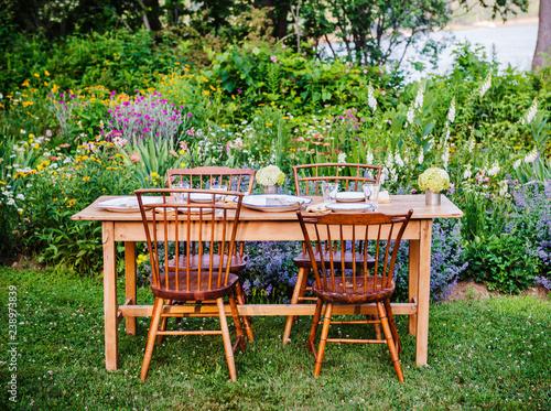 Picnic table in garden