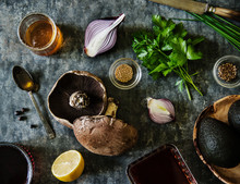 Still Life With Mushrooms, Onions, Honey, Avocado, Parsley, Red Wine And Spices