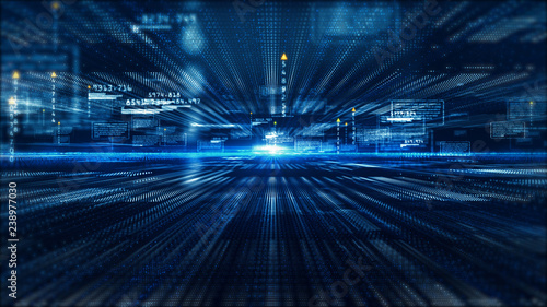 Fotografie, Tablou  Hi-Tech digital display holographic information abstract background