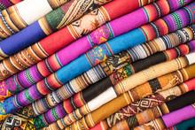 Beautiful Colorful Fabrics In Peru, Peruvian Textiles