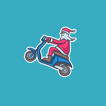 Santa Claus On A Moped