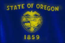 Mosaic Heart Tiles Painting Of Oregon Flag Blown In The Wind, Love State Patriotic Concept.
