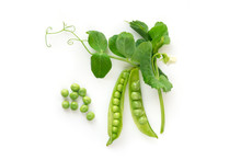 Isolated Sweet Green Peas. Top...