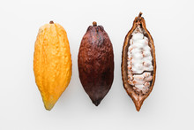 Cocoa Pods On A White Background, Creative Flat Lay Food Concept