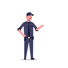 Security Guard Man In Black Uniform Point To Something Police Officer Male Cartoon Character Full Length Flat Isolated