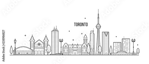 Toronto skyline Canada big city buildings vector Wallpaper Mural