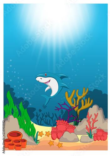 Shark in Beautiful Underwater World Cartoon - Buy this stock