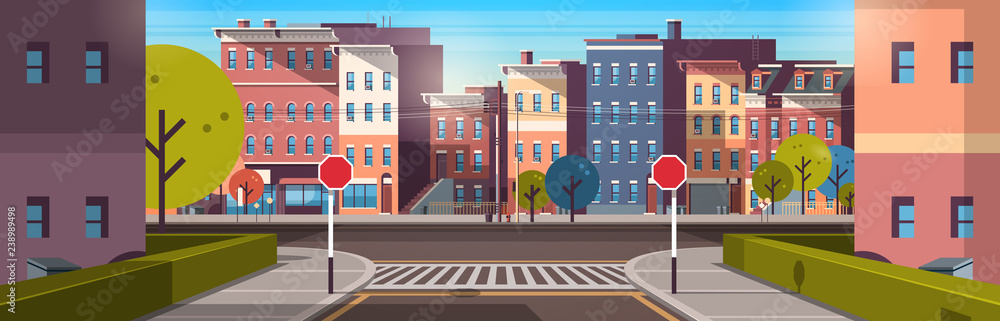 Fototapeta city street building houses architecture empty downtown road urban cityscape early morning sunrise horizontal banner flat