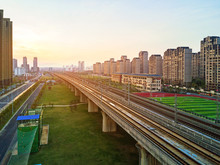 China, Modern City Scenery, High Speed Train.