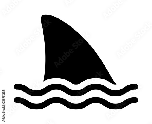 Fotomural Shark attack warning sign with shark dorsal fin swimming in water flat vector ic