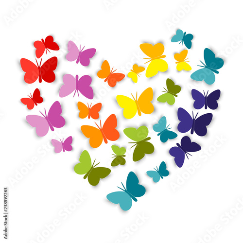 Fotomural Heart from bright colorful paper Butterfly