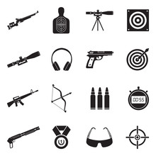 Shooting Range Icons. Black Fl...