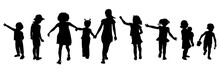 Editable Silhouettes Of Childr...