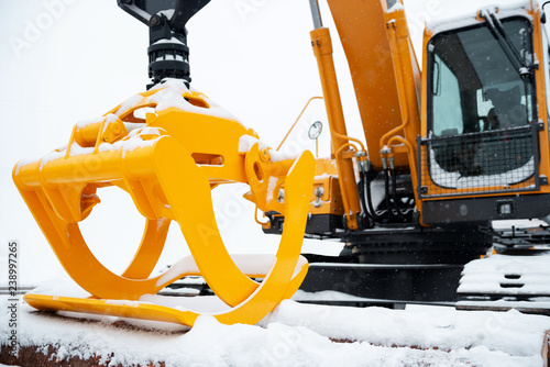 Hydraulic manipulator  Yellow log loader  Forestry equipment