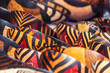 canvas print picture - Tribal colored bowls in street market souvenir store in South Africa