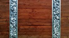 Braune Holzwand Mit Snkrechten...