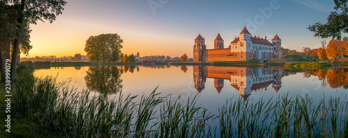 Recess Fitting Blue jeans Mir castle in the sunsetlight. Belarus. Panorama