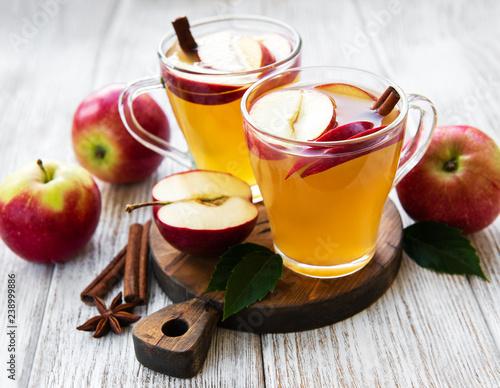 Apple cider  with cinnamon sticks Canvas Print