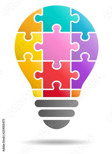 Fotografie, Obraz  Puzzle light bulb