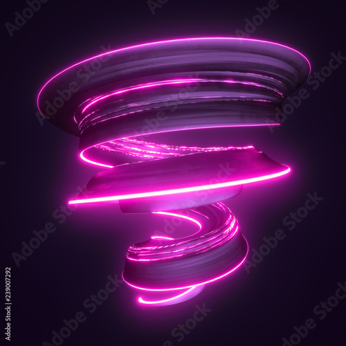 Valokuvatapetti Abstract twisted 3d brushstroke with bright glowing neon light