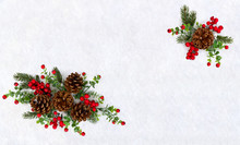 Christmas Decoration. Twigs Christmas Tree, Brown Natural Pine Cones And Red Berries On Snow With Space For Text. Top View, Flat Lay