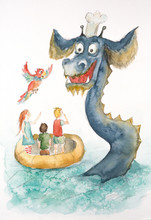 Illustration Of Watercolor Sea Serpent Kids And Parrot