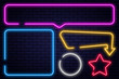 Set of neon signs, arrow, rectangle, square, circle and star. Neon light frame, glowing bulb banner