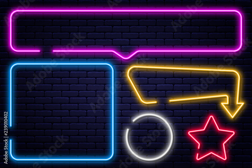 Photo  Set of neon signs, arrow, rectangle, square, circle and star