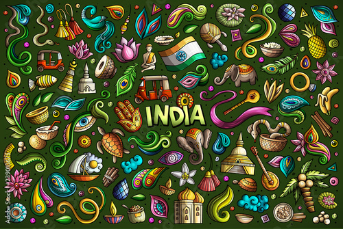 Spoed Foto op Canvas Graffiti Vector doodle cartoon set of Indian objects and symbols
