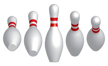 Bowling Pins With Rotating Angle. 3D Effect Vector