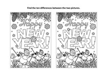 Happy New Year Greeting Find The Ten Differences Picture Puzzle And Coloring Page With Greeting Text, Winter Scene, Skiing Snowmen