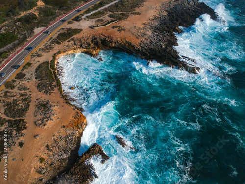 Canvas Prints Turquoise Aerial view from a road in the coastline near from the ocean. Cascais Portugal