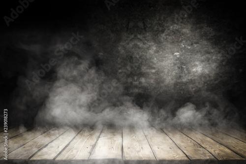 Keuken foto achterwand Industrial geb. Table background and smoke decoration