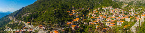 Panorama of Stemnitsa village, a popular winter destination in mountainous Arcad Wallpaper Mural