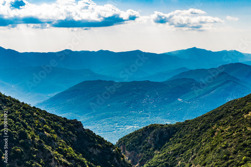 Blue mountains view in Arcadia, Peloponnese, Greece Canvas Print
