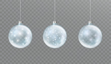 Christmas Glass Transparent Ball With Snow And Glow. Set Of Winter Decorations.