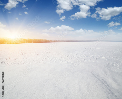 Foto auf Gartenposter Landschaft Snowcovered fields on sky and sun.