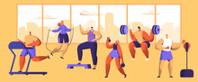 Gym Workout Character Set. Spo...